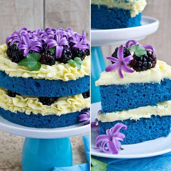 Naked Cake Blue com Merengue Vegano