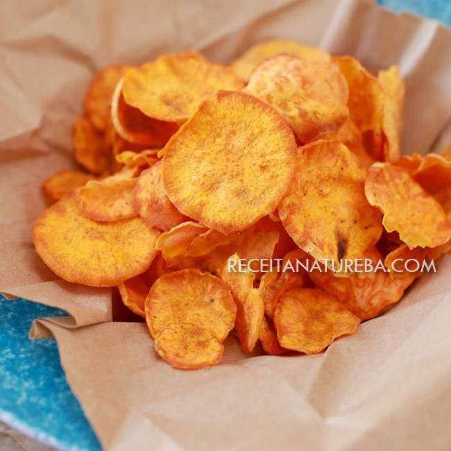 Chips-de-Batata-Doce-no-Microondas Chips de Batata Doce no Microondas