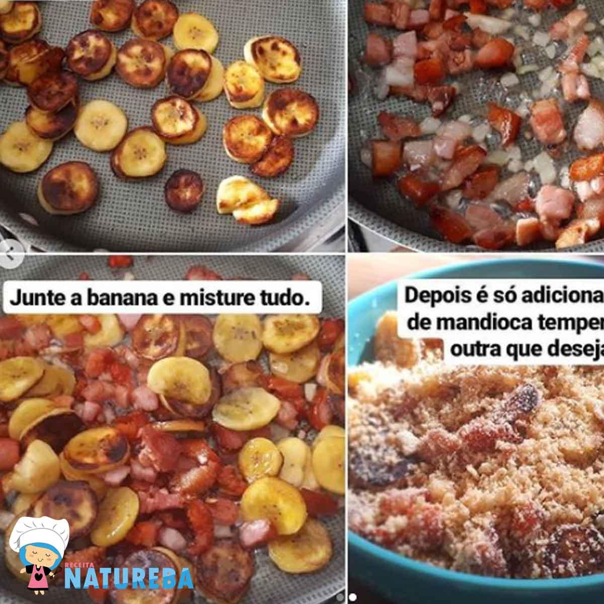 Preparando a farofa de banana